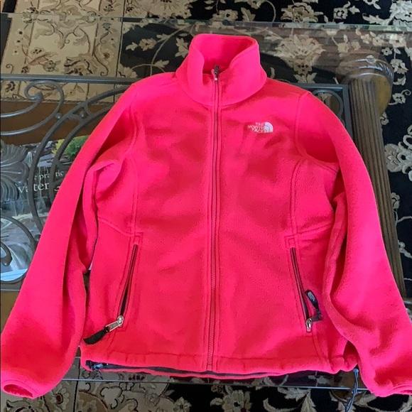 Hot pink North Face fleece jacket